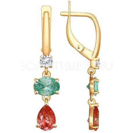 Серьги из золота с бесцветными, зелеными и розовыми Swarovski Zirconia 81020341