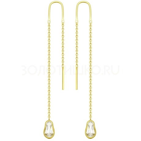Серьги из желтого золота со Swarovski Zirconia 81020348-2