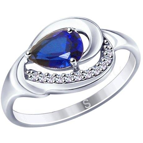 Кольцо из серебра с синим корунд (синт.) и фианитами 88010055