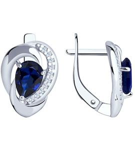 Серьги из серебра с синими корунд (синт.) и фианитами 88020046