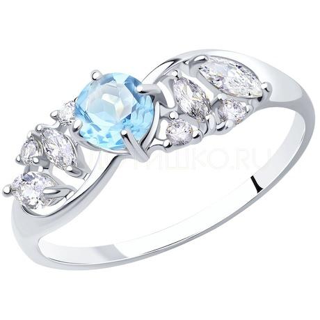 Кольцо из серебра с топазом и фианитами 92011666