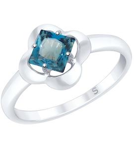 Кольцо из серебра с синим топазом 92011726