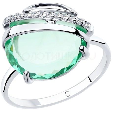 Кольцо из серебра с зелёным ситаллом и фианитами 92011831
