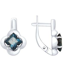 Серьги из серебра с синими топазами 92021947
