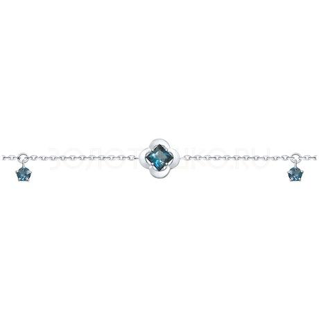 Браслет из серебра с синими топазами 92050115