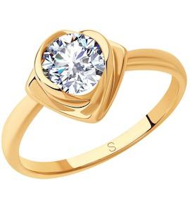 Кольцо из золочёного серебра с фианитом 93010811