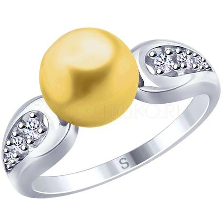 Кольцо из серебра с жёлтым жемчугом Swarovski и фианитами 94012679