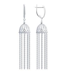 Серьги из серебра с фианитами 94023431