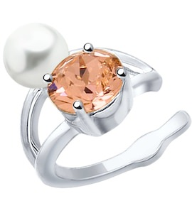Серьга из серебра с жемчугом Swarovski и розовым кристаллом Swarovski