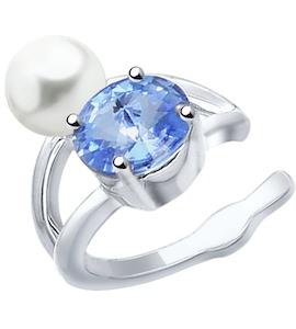 Серьга из серебра с жемчугом Swarovski и синим кристаллом Swarovski