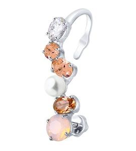 Серьга из серебра с жемчугом Swarovski и бесцветным и розовыми кристаллами Swarovski