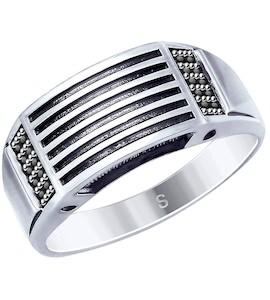 Кольцо из чернёного серебра с фианитами