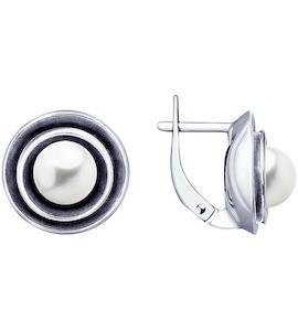 Серьги из чернёного серебра с жемчугом 95020056