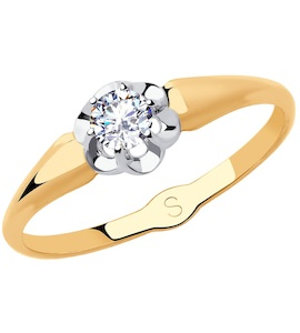Кольцо из золота с фианитом 018184