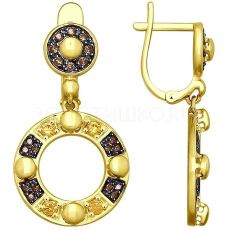 Серьги из желтого золота с фианитами 027951-2