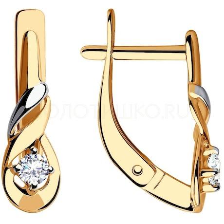 Серьги из золота с фианитами 028282