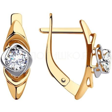 Серьги из золота с фианитами 028331