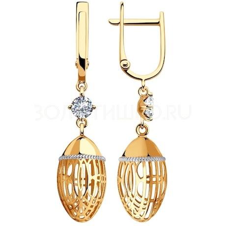 Серьги из золота с фианитами 028475