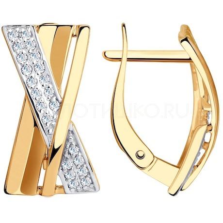 Серьги из золота с фианитами 028508