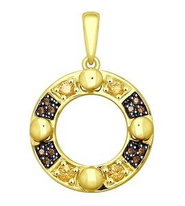 Подвеска из желтого золота с фианитами 035435-2