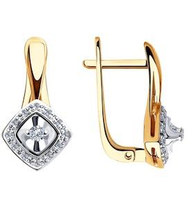 Серьги из комбинированного золота с бриллиантами 1021338