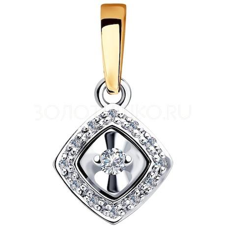 Подвеска из комбинированного золота с бриллиантами 1030731