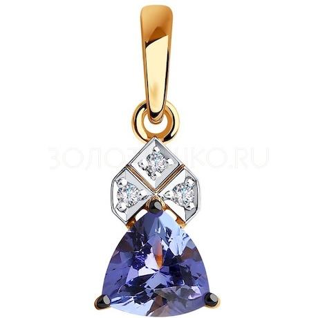 Подвеска из золота с бриллиантами и танзанитом 6034043