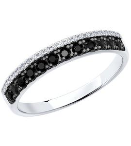 Кольцо из белого золота с бесцветными и чёрными бриллиантами 7010057