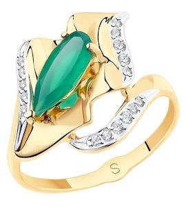 Кольцо из золота с агатом и фианитами 715581