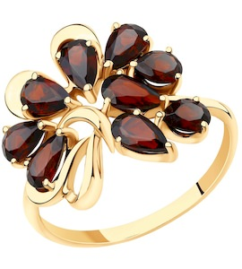 Кольцо из золота с гранатами 715593