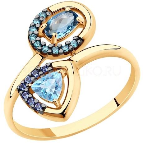 Кольцо из золота с голубым и синим топазами и фианитами 715697