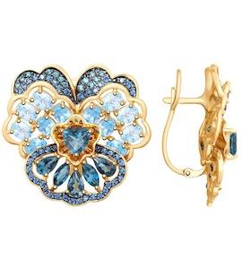 Серьги из золота с голубыми и синими топазами и фианитами 725711