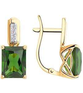 Серьги из золота с зелеными ситаллами и фианитами 725836