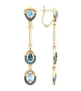 Серьги из золота с голубыми и синими топазами и фианитами 726057
