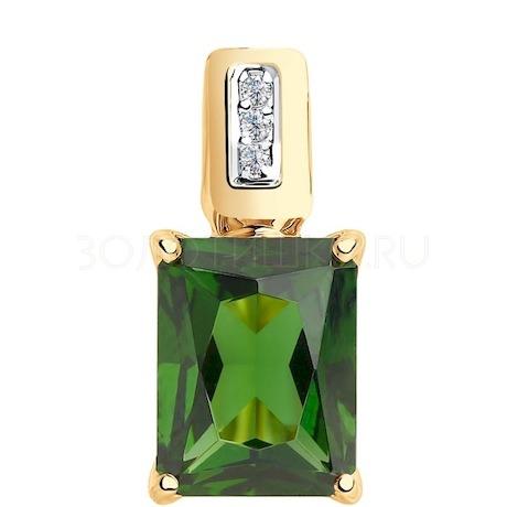 Подвеска из золота с зелёным ситаллом и фианитами 731887
