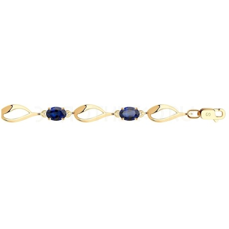 Браслет из золота с синими корунд (синт.) 750343