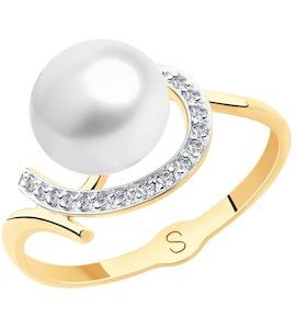 Кольцо из золота с жемчугом и фианитами 791125