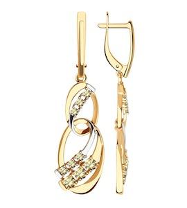 Серьги из золота с жёлтыми Swarovski Zirconia 81020454