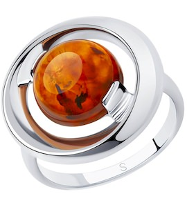Кольцо из серебра с янтарём 83010056