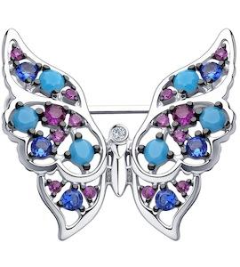 Брошь из серебра с голубыми ситаллами и фианитами