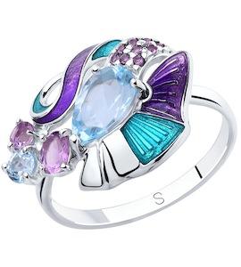 Кольцо из серебра с эмалью и миксом камней 92011822