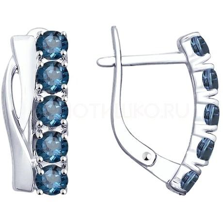 Серьги из серебра с синими топазами 92021813