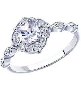 Кольцо из серебра с фианитами 94012907