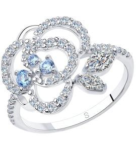 Кольцо из серебра с фианитами 94013019