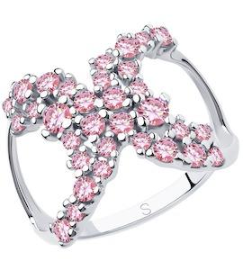 Кольцо из серебра с фианитами 94013038