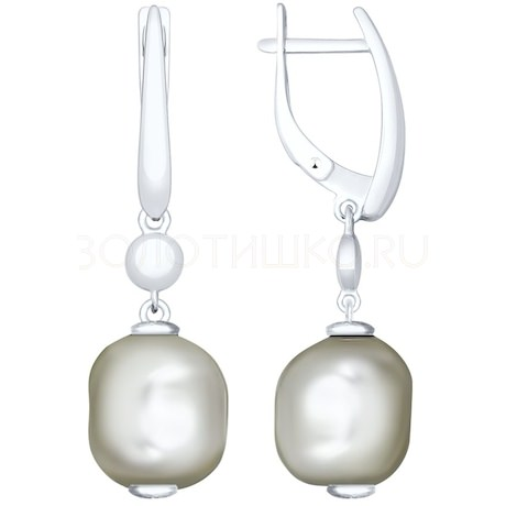 Серьги из серебра с жемчугом Swarovski 94023225