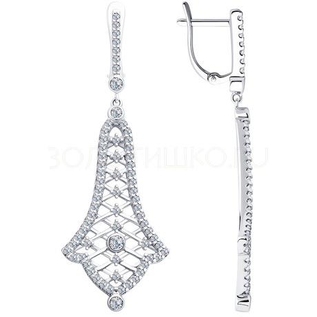 Серьги из серебра с фианитами 94023373