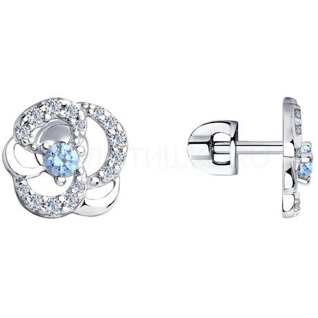 Серьги из серебра с фианитами 94023573