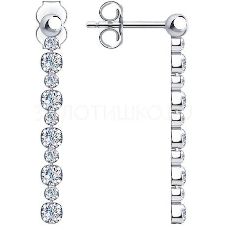 Серьги из серебра с фианитами 94024518