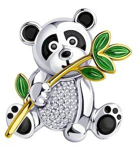 Брошь из золочёного серебра с эмалью и фианитами